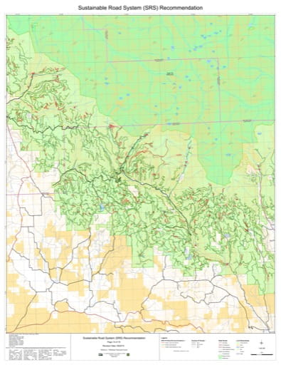 Map 14 of the Sustainable Road System Recommendation for Wallowa-Whitman National Forest (NF) in Oregon. Published by the U.S. Forest Service (USFS).