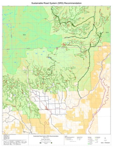 Map 15 of the Sustainable Road System Recommendation for Wallowa-Whitman National Forest (NF) in Oregon. Published by the U.S. Forest Service (USFS).
