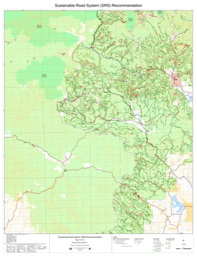 Map 16 of the Sustainable Road System Recommendation for Wallowa-Whitman National Forest (NF) in Oregon. Published by the U.S. Forest Service (USFS).