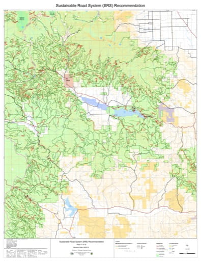 Map 17 of the Sustainable Road System Recommendation for Wallowa-Whitman National Forest (NF) in Oregon. Published by the U.S. Forest Service (USFS).