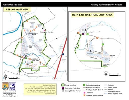 Trail Map of Ankeny National Wildlife Refuge (NWR) in Oregon. Published by the U.S. Fish & Wildlife Service (USFWS).