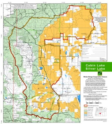 map of Deschutes NF - Cabin Lake / Silver Lake - Winter Closure