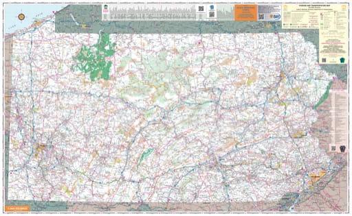 map of Pennsylvania - Tourism and Transportation Map