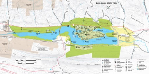 Recreation Map of Bald Eagle State Park (SP) in Pennsylvania. Published by Pennsylvania State Parks.