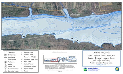 Water Depth Map of the Upper Greens Run area of Foster Joseph Sayers Lake in Bald Eagle State Park (SP) in Pennsylvania. Published by Pennsylvania State Parks.