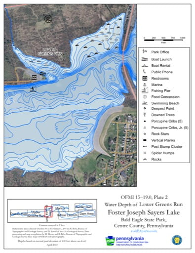 Water Depth Map of the Lower Greens Run area of Foster Joseph Sayers Lake in Bald Eagle State Park (SP) in Pennsylvania. Published by Pennsylvania State Parks.