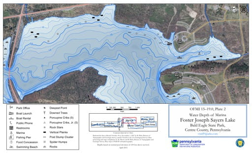 Water Depth Map of the Marina area of Foster Joseph Sayers Lake in Bald Eagle State Park (SP) in Pennsylvania. Published by Pennsylvania State Parks.