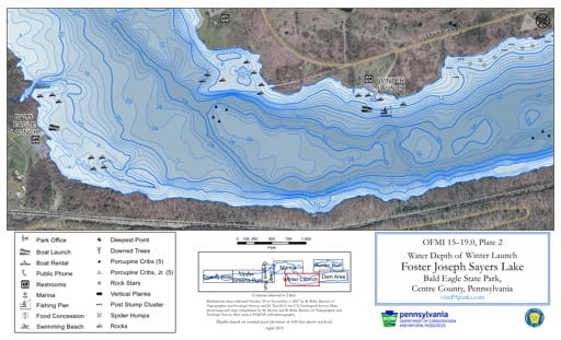 Water Depth Map of the Winter Launch area of Foster Joseph Sayers Lake in Bald Eagle State Park (SP) in Pennsylvania. Published by Pennsylvania State Parks.