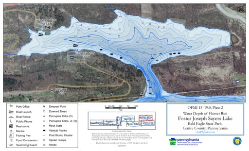Water Depth Map of the Hunter Run area of Foster Joseph Sayers Lake in Bald Eagle State Park (SP) in Pennsylvania. Published by Pennsylvania State Parks.