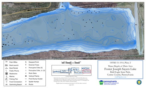 Water Depth Map of the Dam Area of Foster Joseph Sayers Lake in Bald Eagle State Park (SP) in Pennsylvania. Published by Pennsylvania State Parks.