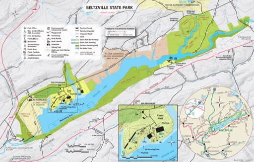 Recreation Map of Beltzville State Park (SP) in Pennsylvania. Published by Pennsylvania State Parks.