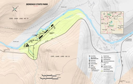 Recreation Map of Bendigo State Park (SP) in Pennsylvania. Published by Pennsylvania State Parks.