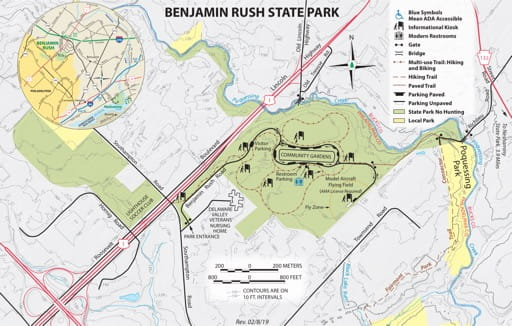Visitor Map of Benjamin Rush State Park (SP) in Pennsylvania. Published by Pennsylvania State Parks.