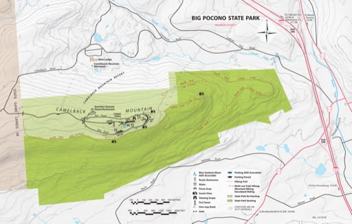 Recreation Map of Big Pocono State Park (SP) in Pennsylvania. Published by Pennsylvania State Parks.
