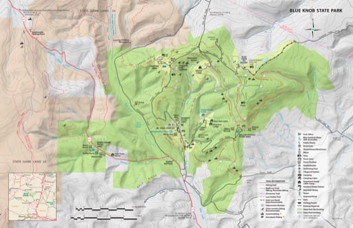 Recreation Map of Blue Knob State Park (SP) in Pennsylvania. Published by Pennsylvania State Parks.