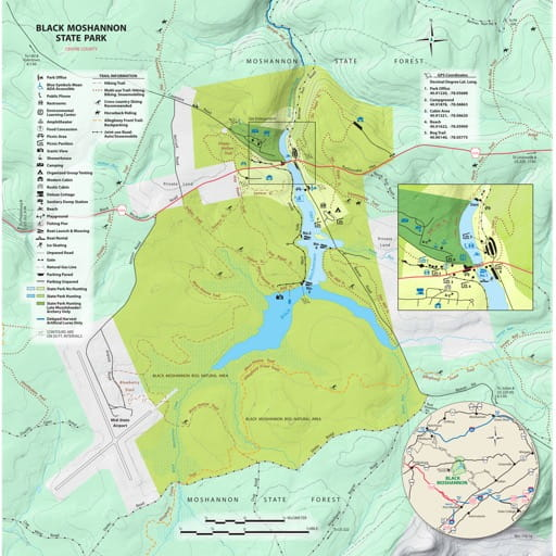 Recreation Map of Black Moshannon State Park (SP) in Pennsylvania. Published by Pennsylvania State Parks.