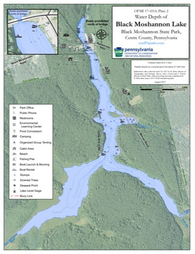 Water Depth Map of Black Moshannon Lake in Black Moshannon State Park (SP) in Pennsylvania. Published by Pennsylvania State Parks.