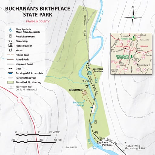 Visitor Map of Buchanan's Birthplace State Park (SP) in Pennsylvania. Published by Pennsylvania State Parks.