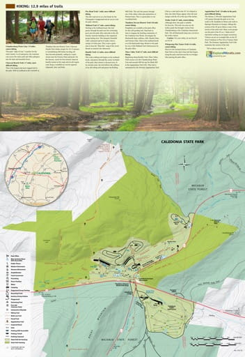Visitor Map of Caledonia State Park (SP) in Pennsylvania. Published by Pennsylvania State Parks.