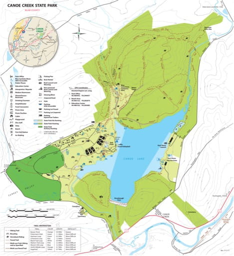 Visitor Map of Canoe Creek State Park (SP) in Pennsylvania. Published by Pennsylvania State Parks.