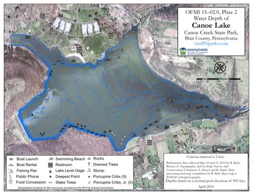 Water Depth Map of Canoe Lake in Canoe Creek State Park (SP) in Pennsylvania. Published by Pennsylvania State Parks.