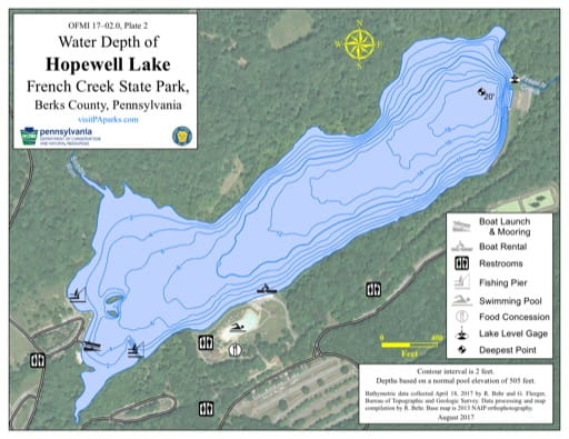 Water Depth Map of Hopewell Lake in French Creek State Park (SP) in Pennsylvania. Published by Pennsylvania State Parks.
