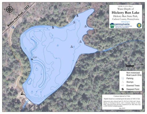 Water Depth Map of Hickory RÄun Lake in Hickory Run State Park (SP) in Pennsylvania. Published by Pennsylvania State Parks.