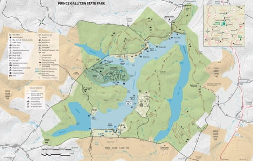 Recreation Map of Prince Gallitzin State Park (SP) in Pennsylvania. Published by Pennsylvania State Parks.