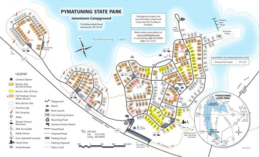 Map of Jamestown Campground at Pymatuning State Park (SP) in Pennsylvania. Published by Pennsylvania State Parks.
