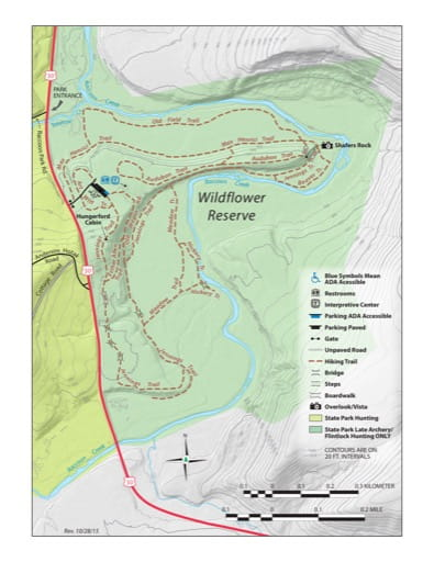 Trail Map of the Wildflower Reserver within Raccoon Creek State Park (SP) in Pennsylvania. Published by Pennsylvania State Parks.