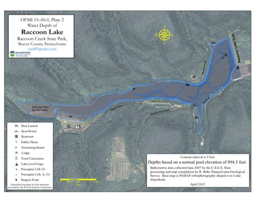 Water Depth Map of Raccon Lake in Raccoon Creek State Park (SP) in Pennsylvania. Published by Pennsylvania State Parks.