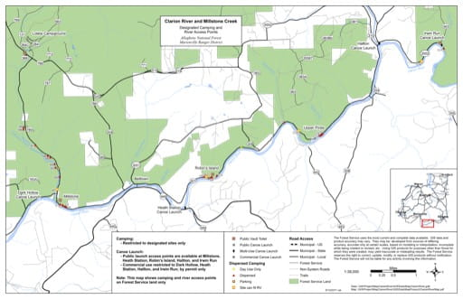 map of Allegheny - Clarion River and Millstone Creek
