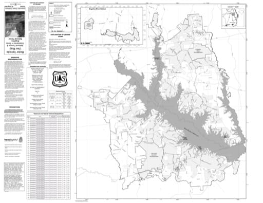 Motor Vehicle Use Map (MVUM) of Angelina National Forest (NF) in Texas. Published by the U.S. Forest Service (USFS).