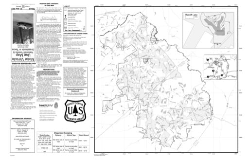 Motor Vehicle Use Map (MVUM) of Davy Crockett National Forest (NF) in Texas. Published by the U.S. Forest Service (USFS).