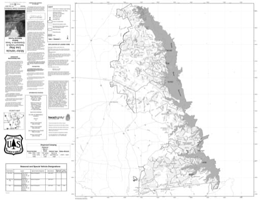 Motor Vehicle Use Map (MVUM) of Sabine National Forest (NF) in Texas. Published by the U.S. Forest Service (USFS).
