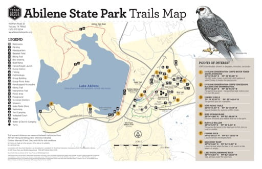 Trails Map of Abilene State Park (SP) in Texas. Published by Texas Parks & Wildlife.
