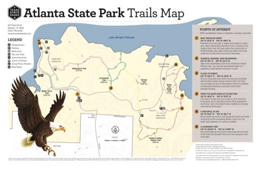 Trails Map of Atlanta State Park (SP) in Texas. Published by Texas Parks & Wildlife.