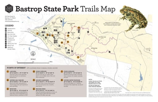 Trails Map of Bastrop State Park (SP) in Texas. Published by Texas Parks & Wildlife.