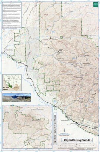 Exploration Map of Bofecillos Highlands in Big Bend Ranch State Park (SP) in Texas. Published by Texas Parks & Wildlife.