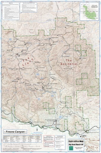 Exploration Map of the Fresno Canyon area in Big Bend Ranch State Park (SP) in Texas. Published by Texas Parks & Wildlife.