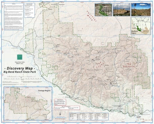 Discovery Map of Big Bend Ranch State Park (SP) in Texas. Published by Texas Parks & Wildlife.