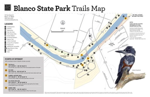 Trails Map of Blanco State Park (SP) in Texas. Published by Texas Parks & Wildlife.