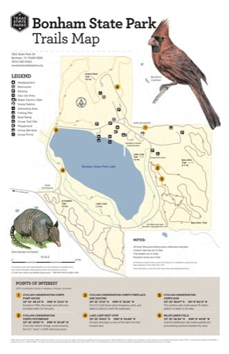 Trails Map of Bonham State Park (SP) in Texas. Published by Texas Parks & Wildlife.
