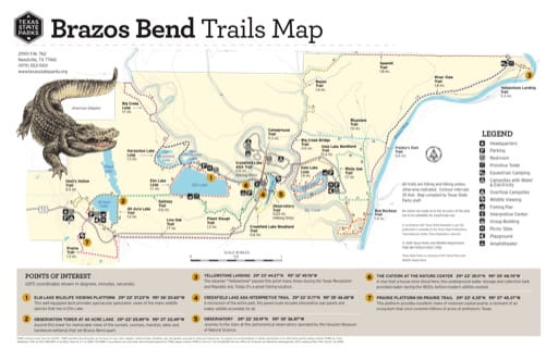 Trails Map of Brazos Bend State Park (SP) in Texas. Published by Texas Parks & Wildlife.