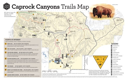 Trails Map of Caprock Canyons State Park and Trailway (SP & Trailway) in Texas. Published by Texas Parks & Wildlife.