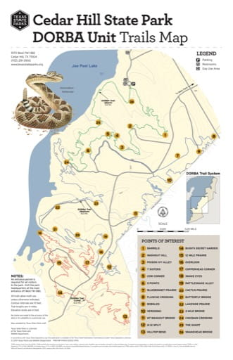 Trails Map of the DORBA Unit at Hill State Park (SP) in Texas. Published by Texas Parks & Wildlife.
