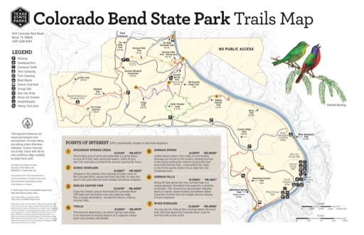 Trails Map of Colorado Bend State Park (SP) in Texas. Published by Texas Parks & Wildlife.