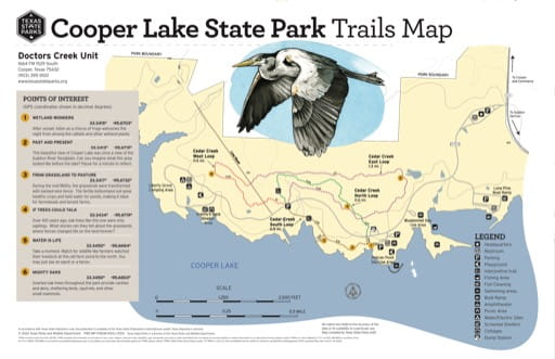Trails Map of the Doctors Creek Unit of Cooper Lake State Park (SP) in Texas. Published by Texas Parks & Wildlife.