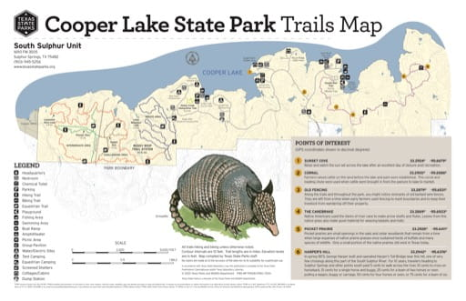 Trails Map of the South Sulphur of Cooper Lake State Park (SP) in Texas. Published by Texas Parks & Wildlife.