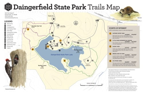 Trails Map of Cleburne State Park (SP) in Texas. Published by Texas Parks & Wildlife.